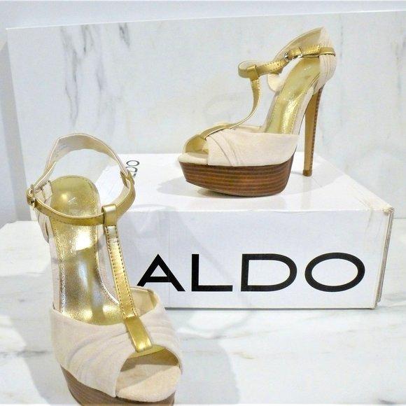 NWB Gold and Cream Stiletto Heels